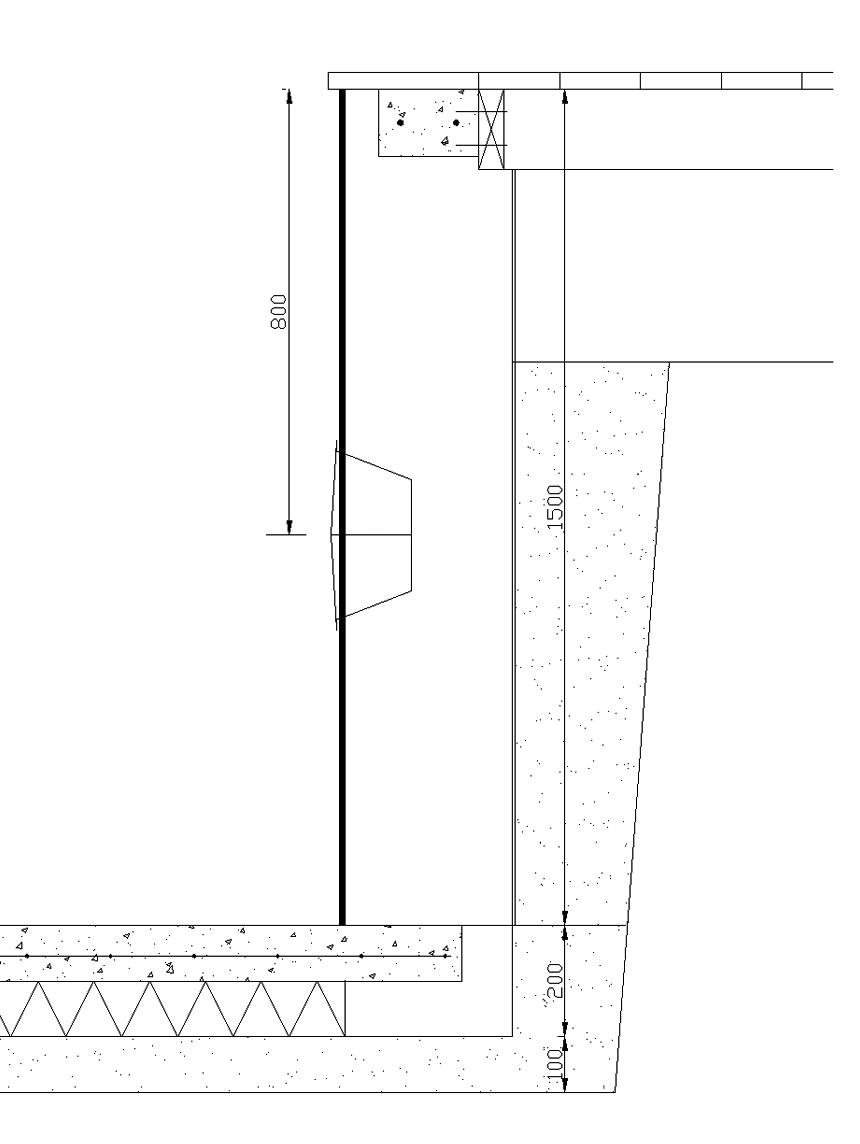 Centrum lampor placeras 800 mm nedanför ovansida väggblock.
