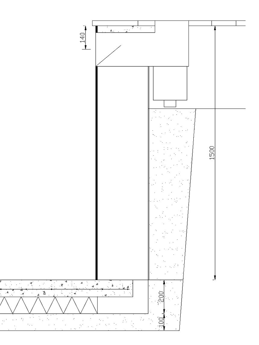 Centrum bräddavlopp placeras 140 mm nedanför ovansida väggblock.